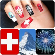 Swiss National Day, August 1st inspired nails!