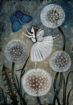 Fairy with butterfly and dandelion clocks Dandelion Art, Dandelion Wish, Art Fantaisiste, Art Academy, Flower Fairies, Fairy Art, Whimsical Art, Faeries, Illustrators