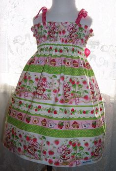 My Carrie Girl's Shirred Dress made with Strawberry Shortcake Fabric. $36.00, via Etsy.