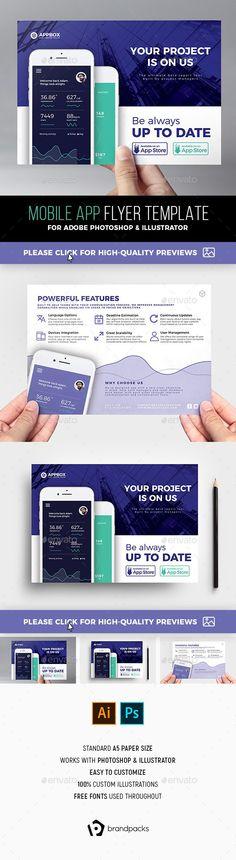 a4, ai, app flyer, app poster, apps, BrandPacks, flyer template - half sheet template