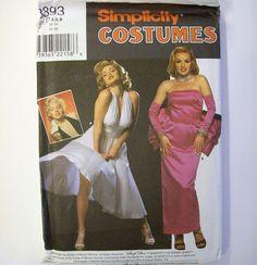Simplicity 8393 Marilyn Monroe Norma Jeane Halter Evening Dress Costume D 4 6 8  #Simplicity