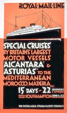 """Royal Mail Line - Special Cruises"" Glossy Vintage Cruise Line Poster Art Print Vintage Boats, Poster Prints, Art Prints, Royal Mail, Advertising Poster, Vintage Travel Posters, Illustrations Posters, Vintage Style, Retro Vintage"
