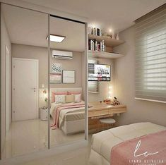Trendy bedroom ideas for small rooms closet Room Design Bedroom, Girl Bedroom Designs, Home Room Design, Small Room Bedroom, Closet Bedroom, Trendy Bedroom, Diy Bedroom, Bedroom Storage, Bedroom Girls