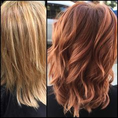 Before and after! Color by Ashton love love love these red copper and rose gold tones!!