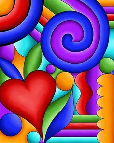 Browse through images in Debi Payne's Pop Art collection. Bold and vibrant colors and designs created in the Pop Art style. Art Fantaisiste, Arte Pop, Silk Painting, Painting Art, Heart Art, Whimsical Art, Rock Art, Modern Art, Glass Art