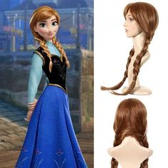 Halloween Wigs, Halloween Cosplay, Cosplay Outfits, Cosplay Costumes, Disney Frozen Elsa, Disney Princess, Pigtail Wig, Anna Coronation Dress, Comic Con