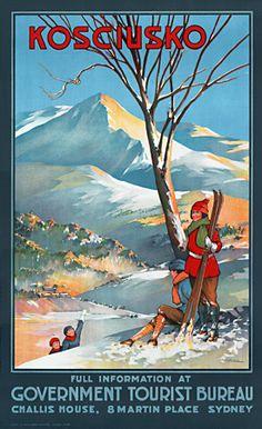 Premium Giclee Print: Mount Kosciuszko, Australia - Skiing by George Ernest Akinhead : Posters Australia, Vintage Ski Posters, Retro Posters, Australian Vintage, Wall Art Prints, Poster Prints, Canvas Prints, Tourism Poster, Advertising Poster