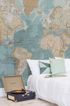 Are you a travel enthusiast? This charming vintage map mural will help you keep the wanderlust alive. Embracing a palette of light pastels and intricate details, this map wallpaper is both stylish and sophisticated. It's perfect for bedroom spaces and mod Home Bedroom, Bedroom Decor, Wall Decor, Bedroom Ideas, Travel Bedroom, Master Bedroom, Map Wallpaper, Travel Wallpaper, Globe Wallpaper