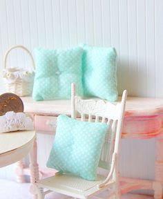 Dollhouse Miniature Aqua Marine Toss Pillows by Memoriesnminiature, $12.99