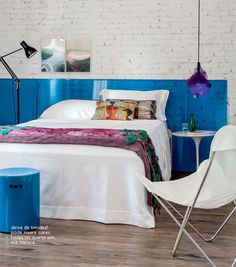 blue headboard + brick wall #decor #headboard #brick