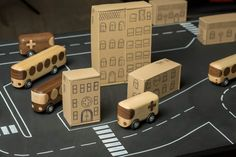 Wood toys: work of Czech furniture / toy maker Libor Motycka, simple, two-toned wooden vehicles.