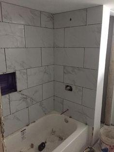 msi tile at home depot. 12 by 24 marble-look porcelain tile. Barn Wood Bathroom, Rustic Bathroom Vanities, Bathroom Ideas, Bathroom Remodeling, Restroom Ideas, Funny Bathroom, Bathroom Stuff, Simple Bathroom, Bathroom Designs