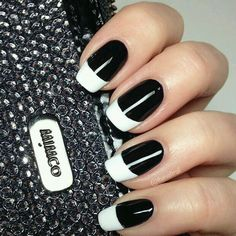The new french manicure. Black nails white tips. So sophisticated and edgy