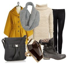 Mustard cape with sweater dress - winter outfit
