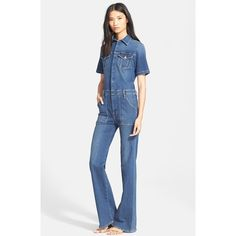 Frame Denim 'Le Flare de Francoise' Jumpsuit ($339) ❤ liked on Polyvore featuring jumpsuits, lamaar, flared jumpsuit, short sleeve jumpsuit, jump suit, frame denim and jumpsuits & rompers