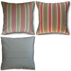 Cushion Covers made in Clarke's Deck Chair Stripe Sage Green Taupe Brown Pink Pink Cushions, Striped Cushions, Blue Cushion Covers, Striped Chair, Deck Chairs, Nautical Theme, Blue Stripes, Sage, Salvia