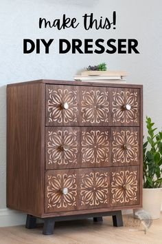 This will blow your mind! Cool Cricut Maker project for woodworking. Custom dresser drawer fronts. #anikasdiylife #ad #cricutmade #cricut Diy Furniture Plans Wood Projects, Scrap Wood Projects, Beginner Woodworking Projects, Diy Woodworking, Diy Home Decor Projects, Easy Home Decor, Furniture Ideas, Decor Ideas, Gypsy Decor