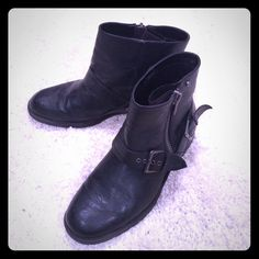 Black buckle booties Black booties with a buckle and zipper on the outer side Shoes Ankle Boots & Booties