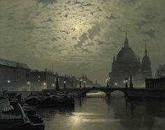 catonhottinroof:  Ernst Hugo Lorenz-Murowana (1872 -1950) Mondschein über dem alten Berliner Schloss, im Vordergrund spiegelnder Fluss mit angelegten Booten.