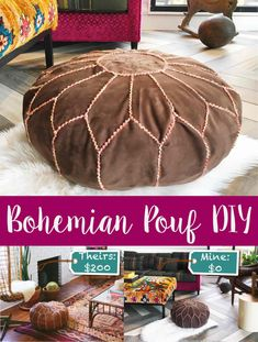 A detailed step-by-step tutorial to DIY your own Bohemian Pouf, complete with pictures and a free print-out pattern! Bohemian Crafts, Boho Diy, Boho Decor, Hippie Crafts, Leather Pouf Ottoman, Diy Ottoman, Diy Pouffe, Crochet Pouf, Floor Pouf