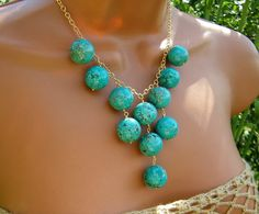 Statement Turquoise Bib Necklace. Turquoise Bubbles. Large Stone Beads. Head turner.