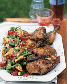A generous coating of coarse salt and freshly ground pepper is all you need to make excellent grilled chicken. Cook the chicken with the grill lid on in order to achieve perfectly done meat.