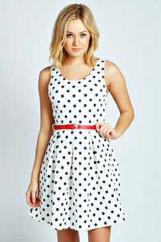 Kirsty Polka Quilted Skater Dress at boohoo.com