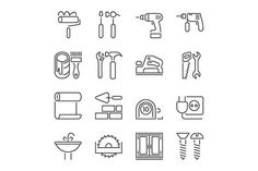 home repair tools line icons by Kurokstas on Creative Market