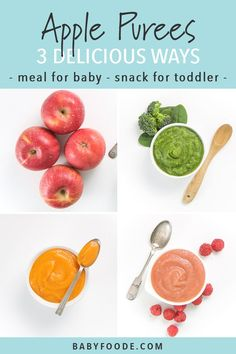 Apple Baby Food Puree – 3 Delicious Ways Apple Baby Puree 3 Delicious Ways! Using apples as the base ingredient, you can make these … – Organics® Baby food Baby Puree Recipes, Pureed Food Recipes, Baby Food Recipes, Baby Snacks, Toddler Snacks, Baby Meals, Carrot Baby Puree, Apple Baby Food, Baby Food By Age