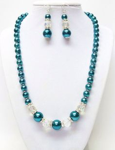 8-12mm Teal green glass pearl with crystal by SabrinaDesignJewelry, $21.00