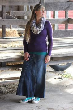 Modest Fashion - Vintage Wash Denim Skirt - @ Deborah & Co ...