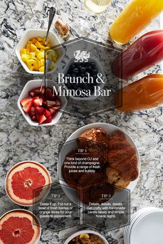 """""""The fresh and tasty menu is set. Now pair it with some fun drink ideas. Follow these three simple tips to elevate your brunch with the perfect Mimosa Bar. Pictured design: Bellingham™"""""""