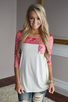 A gorgeous floral print top! **Please note body is more of an off/creamy ivory NOT pure white** True to size...