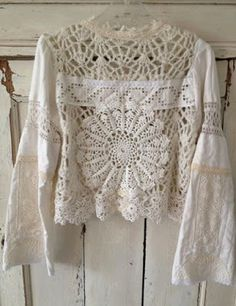 Crochet Lace Blouse _ Inspiration for altered or repurposed clothing! Love the poet sleeves, so romantic! Pull Crochet, Crochet Lace, Crochet Doilies, Lace Doilies, Freeform Crochet, Crochet Blouse, Cotton Crochet, Moda Boho, Altered Couture