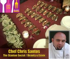 "Food Network Judge, Chef Chris Santos of The Stanton Social in NYC, needed our largest Chef Series model The Six Shooter, in a Mini version, for the benefit ""Bid Against Hunger"". Chris is pictured with his Mini Six Shooters on the table for the guests to come by and taste his awesome mini tacos. As you can see, our Mini Taco Racks are becoming the premiere choice for catering applications."