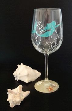 Mermaid Wine Glasses | Mermaid Wine Glass Hand Painted Nautical Glassware Beach Decor … I LOVE THIS.