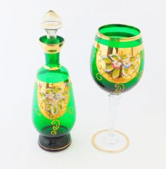 Bohemian Hand Painted Wine Carafe and Wine Glass by oldandnew8
