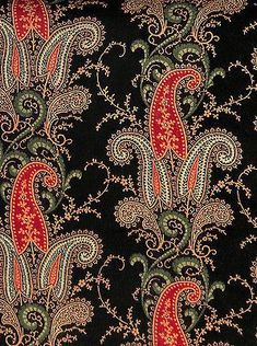 Antique 1840 Allover Paisley Wool Fabric