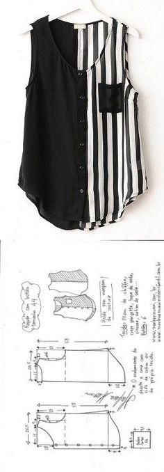 Blusa regata com botões | DIY - molde, corte e costura - Marlene Mukai