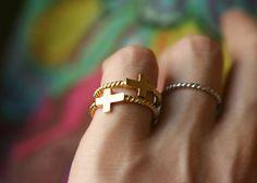 HORIZONTAL SILVER SIDE CROSS RING GOLD CROSS JEWELRY by kellinsilver