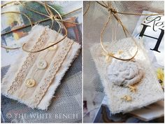 Handmade fabric gift tags from the-white-bench. Fabric Gifts, Fabric Tags, How To Make Scrapbook, White Bench, Art Of Living, More Cute, How To Make Paper, Gift Bags, Card Making