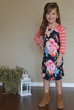 Little Girls Dress, Stripes & Floral, Baseball Dress, Ryleigh Rue Clothing, Online shopping, Online boutique, floral dress, dress,  fashion, Mommy & Me Matching Outfits, boutique, kids clothing,