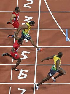 Usain Bolt, bottom, crosses the finish line to win the 2012 Olympic 100 meters before Yohan Blake, and Justin Gatlin Usain Bolt Gold Medal, Yohan Blake, Justin Gatlin, Olympic Records, Nbc Olympics, Sports Graphic Design, Olympic Gold Medals, Fastest Man, Olympic Sports