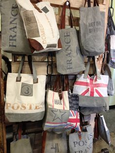 Reclaimed Canvas and Leather Handbags! Imported Handmade Fayetteville, Arkansas Home Gift Ideas Mail Postal Bag Farmers Market Shop Local