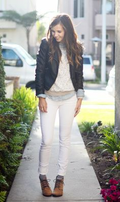 5 White Clothing Pieces You Can Wear All Year Long - Layers during the winter are essential. A sweatshirt and chambray are perfect layered under a leather jacket, and a little pop of stripey socks peeking out under a pair of lace up booties is a fun wintery touch that will keep those feet nice and toasty.
