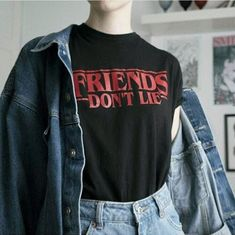 Friends Don't Lie Stranger Things Tee Friends Don& Lie Stranger Things Tee Stranger Things Shirt, Stranger Things Aesthetic, Stranger Things Netflix, Stranger Things Clothing, Stranger Things Merchandise, Mode Kawaii, Vetement Fashion, Cool Outfits, Fashion Outfits