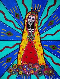 Virgen Guadalupe Dia De Los Muertos Painting  - Virgen Guadalupe Dia De Los Muertos Fine Art Print