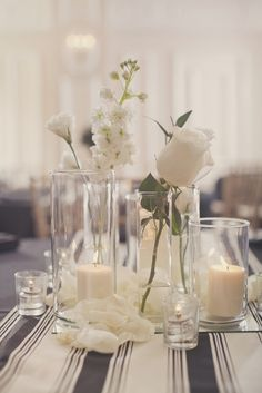 Hurricanes..Minimalist. Good for square of round tables.  Photography by Our Labor of Love / ourlaboroflove.com, Floral Design by TruSo Wedding / trusoweddings.com
