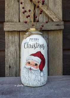 Your place to buy and sell all things handmade Mason Jar Art, Mason Jar Candles, Mason Jar Crafts, Merry Christmas Santa, Christmas Wood, Christmas Crafts, Painting Glass Jars, Bottle Painting, Christmas Mason Jars