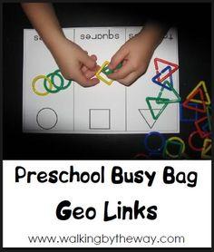 Geo Links ~ Preschool Busy Bag | Walking by the Way